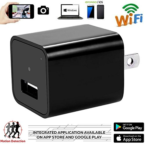 Wifi Hidden Spy Camera – 1080P HD Mini  Security Camera and USB Wall Charger Adapter – Motion Detection – Supports iPhone,Android , IOS App / Nanny Spy Camera  – Can Charge Phones