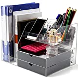 Home Office Organizer Storage Box for Women/Men with 2 Gray Office Organizer Drawers, Large Desktop Office Organizer Shelf Different Containers for Women Girls or Men Desk Organization