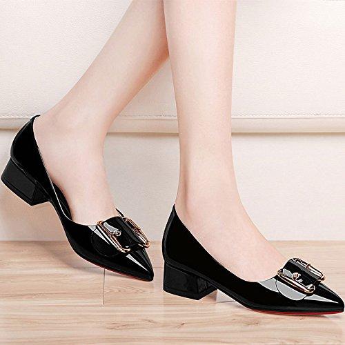 AJUNR-Zapatos De Mujer De Moda Calzado Casual Elegante Luz De La Punta De La Boquilla Solo Zapatos Moda Calzado Casual La Sra. Primavera Ol Simplicidad Con Flat Black 34 35
