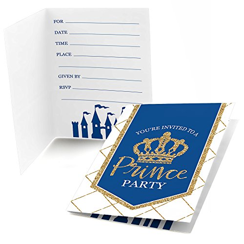 Royal Prince Charming - Fill In Baby Shower or Birthday Party Invitations (8 count) (Invitations Baby Prince Shower)