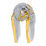 Scarves for Women by MIMOSITO Fashion Lightweight Elegant Geometric Patterned Wrap (Polka Dot-Yellow)