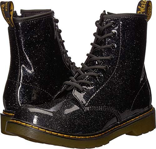 Dr Martens Boots For Girls (Dr. Martens Kid's Collection Girl's 1460 Patent Glitter Youth Delaney Boot (Big Kid) Black Coated Glitter 4 M)