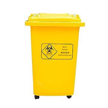 LSHWHT HWH Compartimiento de Basura médico con Ruedas Amarillo, Caja de Almacenamiento de residuos médicos