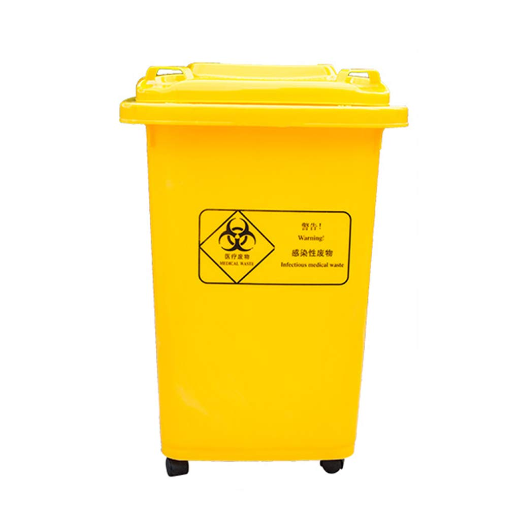 Outdoor trash can CSQ Yellow Trash can, 30L / 50L / 100L Trash can, Laboratory Research Institute Wheeled Trash can Indoor