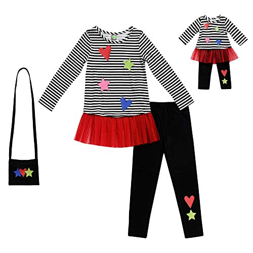 Dollie & Me Girls' Apparel Knit Legging Set with Matching Doll Outfit in, Multicolor, Size 7 ()