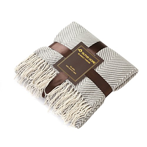 ALPHA HOME Woven Throw Blanket Gray Chevron Blanket with Fringe for Couch Chair Bed Picnic Camping Travel - 50