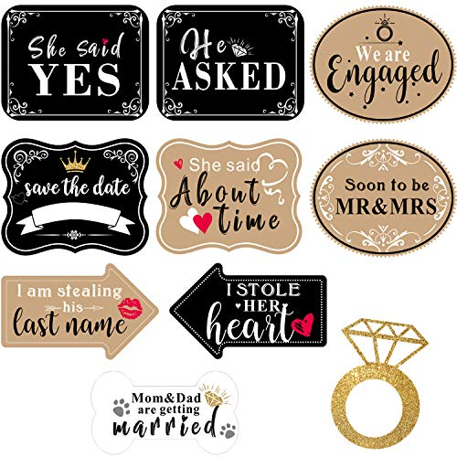 Engagement Photo Props (10 Pieces Engagement Announcement Photo Prop Kit Engagement Announcement Party Decorations Engagement Announcement Photo Signs Cardboard for Engagement Wedding)