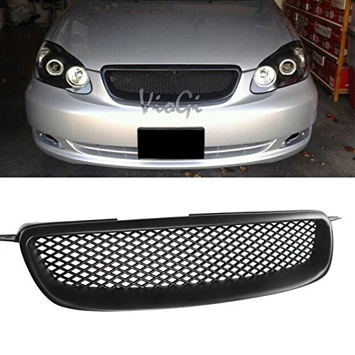 Mifeier Fit 03-08 Toyota Corolla CE/LE/S JDM Black Grill Badgeless Sport Mesh Front Hood Grille (2005 Toyota Corolla Front Grill compare prices)