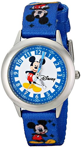 "Disney Kids' W000022 ""Time Teacher"" Stainless Steel Watch with Blue Nylon Band"