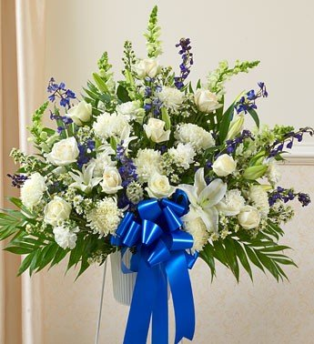 Heartfelt Sympathies - Blue & White - Fresh Flowers Hand Delivered in the Kansas City Area
