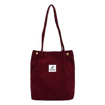 343e81a59c31c KINTRADE Damen Cord Umhängetasche Messenger Bag Damen Handtasche Weinrot