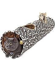 PAWZ Road Katzentunnel im Leoparden Design, Faltbar mit Spielball Interaktives für Katzen Kätzchen