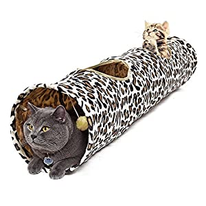 PAWZ Road Cat Tunnel Leopard Print Crinkly Cat Fun 2 Holes Long Tunnel Kitten Toys 114