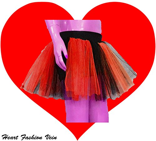 Red Black Two Layer Two Tone Stripe Tutu Skirt