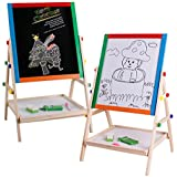 Arete 2 In 1 Black / White Wooden Easel Chalk Drawing Board