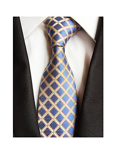 Men's Classic Checks Light Blue Silver yellow Jacquard Woven Silk Tie Necktie + Gift Box