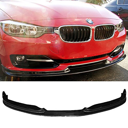 Bumper 4dr Front (Front Bumper Lip Fits 2012-2015 BMW F30 | 3-Series 4Dr HM Style Front Lip Protector Splitter Carbon Fiber CF by IKON MOTORSPORTS | 2013 2014)