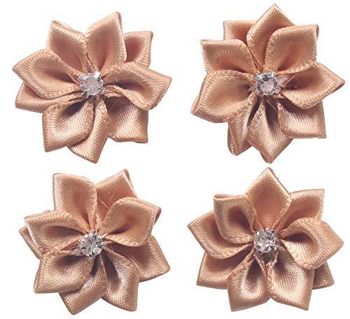 (YAKA 60Pcs Light Coffee Satin Ribbon Flowers Bows Rose W/Rhinestone Appliques Craft Wedding 1.1inch)
