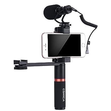 Comica Smartphone Video Kit CVM-VM10-K2 Filmmaker Mini Tripod with Shotgun Video Microphone Video Rig for iPhone X 8Plus 8 7Plus 7 Samsung Huawei etc.