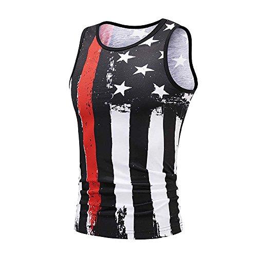 (Fanteecy Men's Summer Tank Tops, Slim Fit Patriotic American Flag 3D Print T Shirts Stripes & Stars Sleeveless Vest Tees (Black, 3XL))