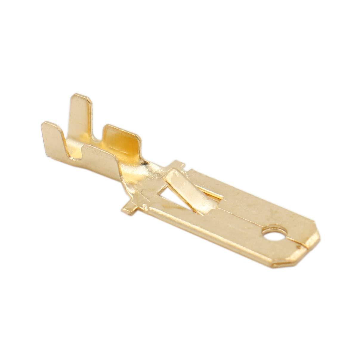 6,3 mm 100 unidades Terminales de engaste r/ápido para pala macho Heschen conector de crimpado no aislado