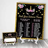 """Katie Doodle Unicorn Birthday Party Supplies   Includes Game Sign +25 Name-Tags +2 Display Easels (BD501), 8"""" x 10"""""""