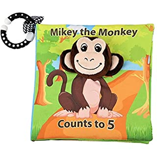 Mikey The Monkey Counts to 5 - Cute Monkey Baby Book - Cloth Baby Book with Soft, Crinkle and Vibrant Pages - 3D Pages, Mesmerizing Mirror, Teething Ring, and More - For Ages 3 Months To 18 Months