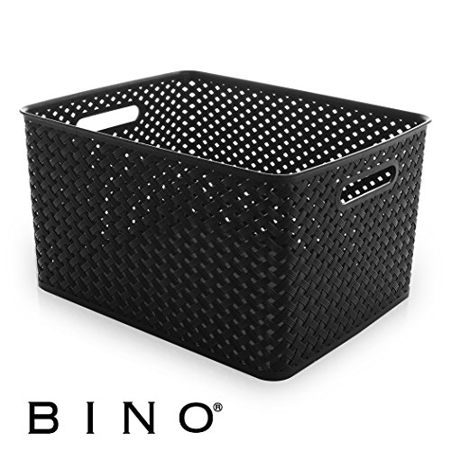 BINO Woven Plastic Storage Basket, X-Large (Black)