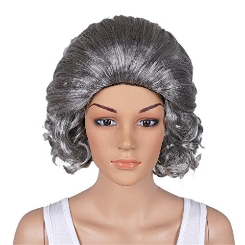 [Fashion New Silver Gray Short Curly Hair Old Lady Grandma Cosplay Anime Full Wig] (Old Wigs)