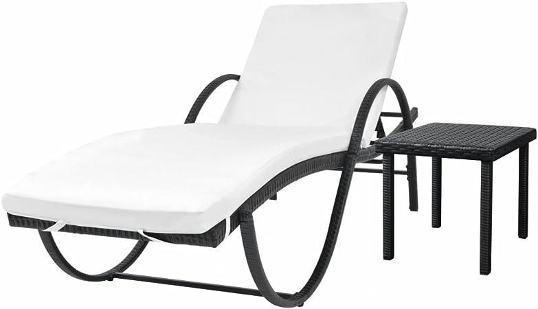 Tidyard Chaise Longue d\'extérieur avec Table et Coussin pour ...