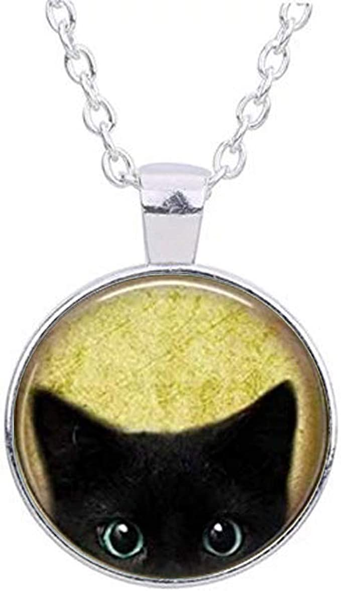 Black Cat Kitten Pendant Chain Necklace Jewelry Black Gold Tone Crystals