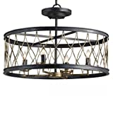 Cheap Currey Company 9902 French Black And Pyrite Bronze Finished Flush Mount with Chicken Wire Shades