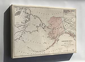 Amazoncom  Canvas 16x24 Map Of Alaska Ceded From Russia To