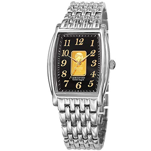 Field Black Dial Steel Bracelet - August Steiner Certified Gold Ingot Bar Men's Bracelet Watch – Silver Stainless Steel Chain Band, Black Dial, Rectangle Tonneau Case - AS8226SSB