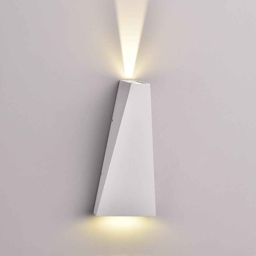 Lianqi 6W LED Metal Aluminum Wall Sconce IP54 Waterproof Modern Rectangular Wall Lamp up and Down Design for Outdoors Outside Garden Hotel Gallery Decoration (White, Warm White)