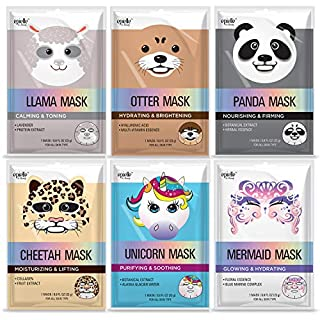 Epielle Character Sheet Masks | Llama, Mermaid, Panda, Cheetah, Unicorn, Otter | Korean Beauty Mask -For All Skin Types, (Pack of 6)