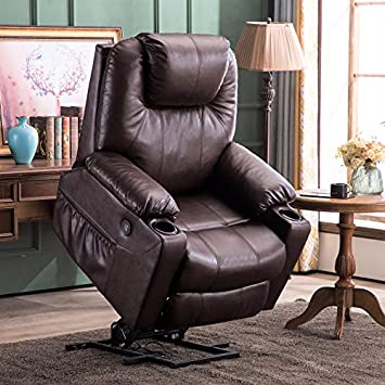 Mcombo Electric Power Lift Recliner Chair Sofa with Massage and Heat for Elderly, 3 Positions,2 Side Pockets and Cup Holders, USB Ports, Faux Leather 7040 Dark Brown