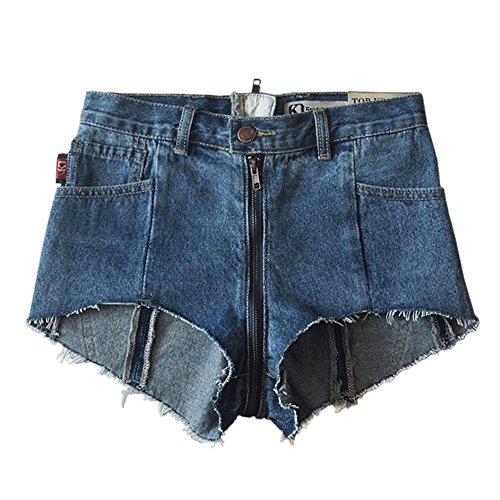 Meijunter Neuf femmes dames d't taille haute Shorts dchirs Jeans pantalons arrire ziper denim hotpant Bleu