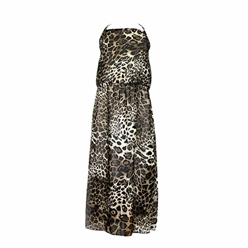 Weixinbuy Kid Baby Girl's Chiffon Leopard Sling Long Dress