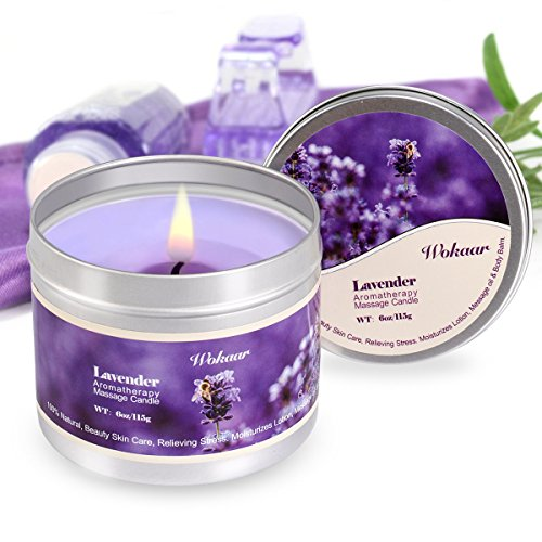 Scented Candles Lavender Aromatherapy Candles Soy Wax Massage Candles Moisturizing For Spa,Skincare Massage and Stress Relief Natural Essential Oil Low Temperature Candles,6 (Stress Massage Oil)