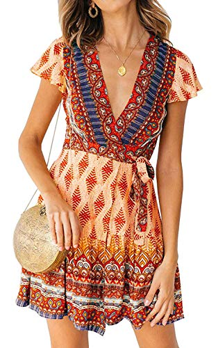 (ZESICA Women's Summer Wrap V Neck Bohemian Floral Print Ruffle Swing A Line Beach Mini Dress)