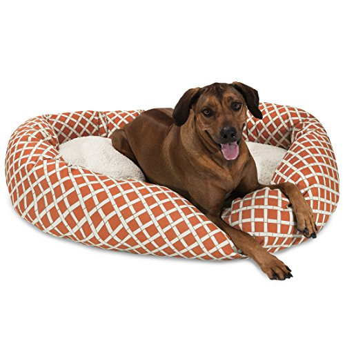 Bed Bagel 52 (52 inch Burnt Orange Bamboo Sherpa Bagel Dog Bed)