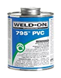 Weld-On 795 10280, Plumbing-Grade PVC Cement, Flexible, Medium-Bodied, Fast-Setting, 1 quart, Can with Applicator Cap Clear