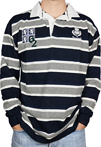iLuv Scottish Rugby Shirt Mens Edinburgh 62 High Design Grey Navy 2X-Large