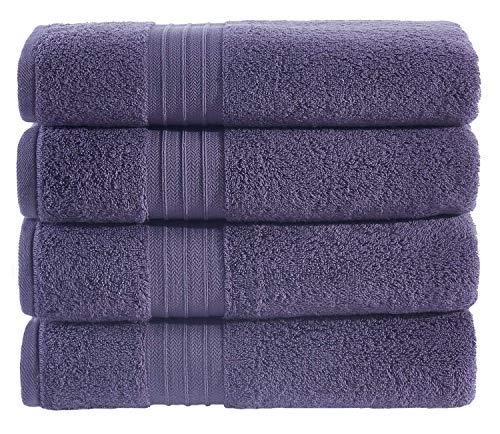 Hammam Linen Hotel & Spa Premium Bath Towels Turkish Cotton Bath Towel – Purple Plum – Set of 4, 27″ x 52″
