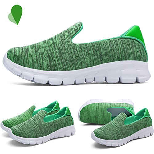 JACKSHIBO Casual Low Trainers Top Women's Comfort Green Sneaker Shoes Sports Mesh Lightweight AaAxrn