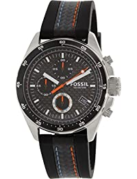 Fossil Men's CH2956 Decker Stainless Steel Watch with Black Leather and Silicone Band
