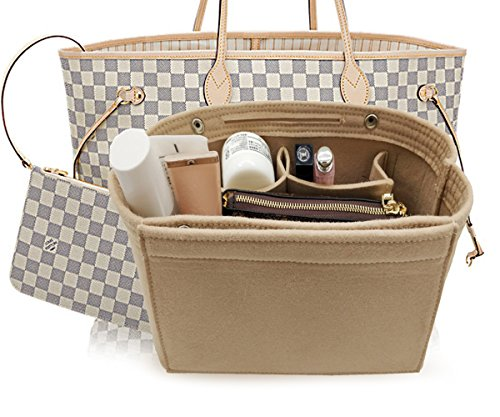 LEXSION Felt Fabric Purse Handbag Organizer Bag - MultiPocket Insert Bag Beige - Gucci Sale Accessories Car