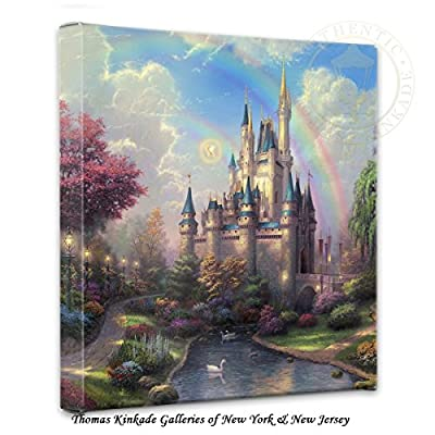 "Thomas Kinkade New Day at Cinderella's Castle 14""x14"" canvas wrap"