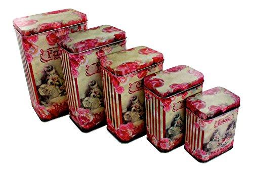 "French Set of 7 Tin Boxes ""Thé à La Rose"""